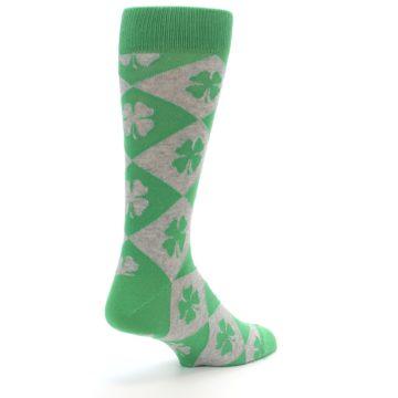 Image of Green Grey Four-Leaf Clover Men's Dress Socks (side-1-back-21)