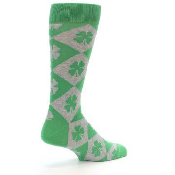 Image of Green Grey Four-Leaf Clover Men's Dress Socks (side-1-back-22)