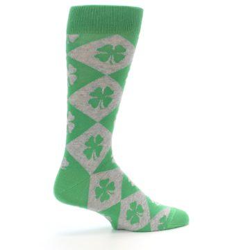 Image of Green Grey Four-Leaf Clover Men's Dress Socks (side-1-23)