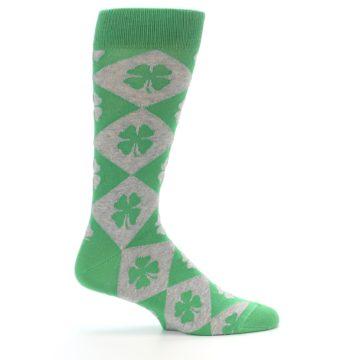 Image of Green Grey Four-Leaf Clover Men's Dress Socks (side-1-24)