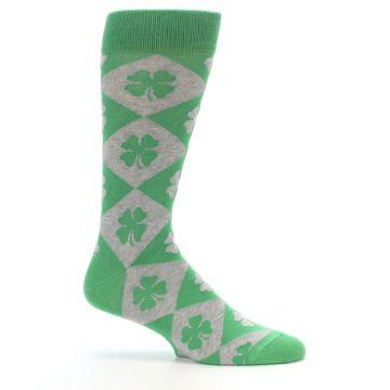 Image of Green Grey Four-Leaf Clover Men's Dress Socks (side-1-25)