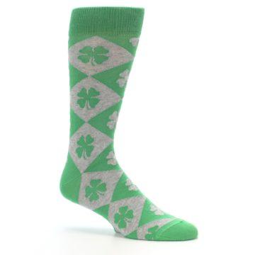 Image of Green Grey Four-Leaf Clover Men's Dress Socks (side-1-26)