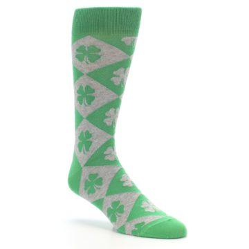 Image of Green Grey Four-Leaf Clover Men's Dress Socks (side-1-27)