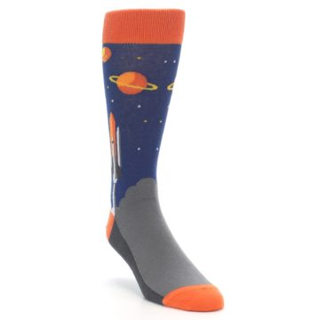 Image of Blue Orange Spaceship Men's Dress Socks (side-1-front-02)