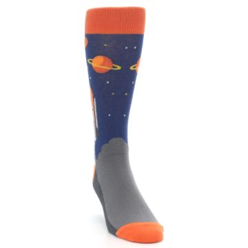 Image of Blue Orange Spaceship Men's Dress Socks (side-1-front-03)
