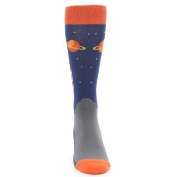 Image of Blue Orange Spaceship Men's Dress Socks (front-04)