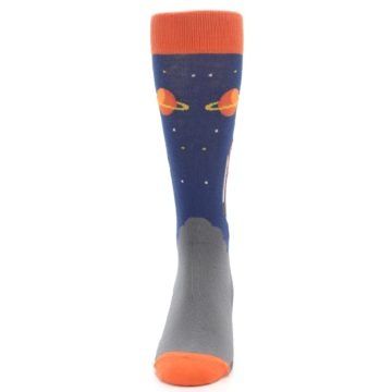 Image of Blue Orange Spaceship Men's Dress Socks (front-05)