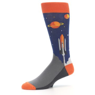 Image of Blue Orange Spaceship Men's Dress Socks (side-2-10)