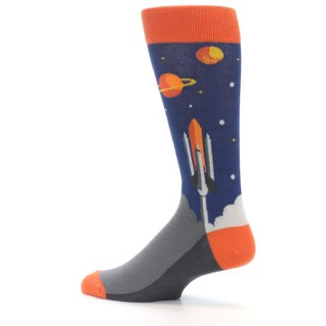 Image of Blue Orange Spaceship Men's Dress Socks (side-2-13)