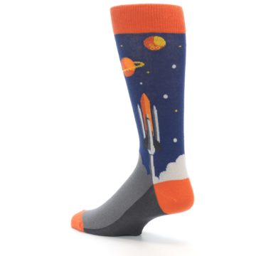 Image of Blue Orange Spaceship Men's Dress Socks (side-2-back-14)