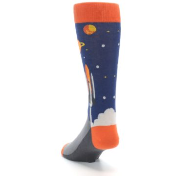 Image of Blue Orange Spaceship Men's Dress Socks (side-2-back-16)