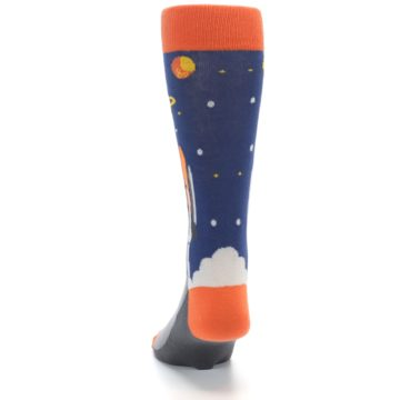 Image of Blue Orange Spaceship Men's Dress Socks (back-17)