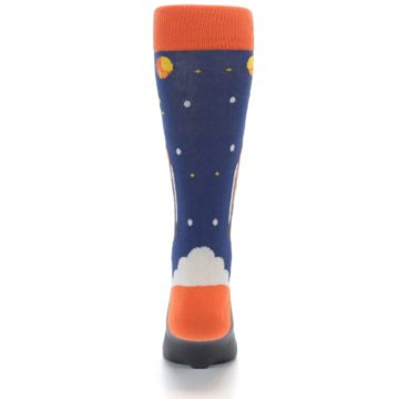 Image of Blue Orange Spaceship Men's Dress Socks (back-18)
