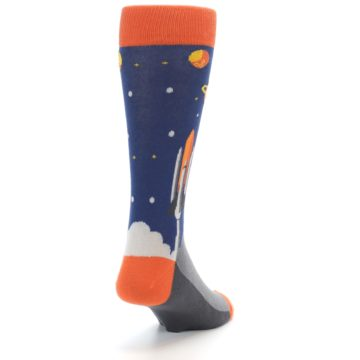 Image of Blue Orange Spaceship Men's Dress Socks (side-1-back-20)