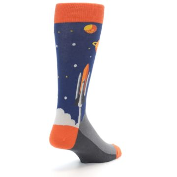 Image of Blue Orange Spaceship Men's Dress Socks (side-1-back-21)