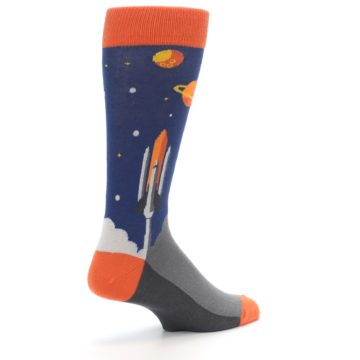 Image of Blue Orange Spaceship Men's Dress Socks (side-1-back-22)