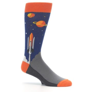 Image of Blue Orange Spaceship Men's Dress Socks (side-1-25)