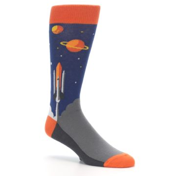 Image of Blue Orange Spaceship Men's Dress Socks (side-1-26)