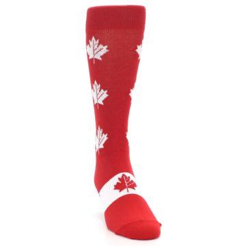 Image of Red Canadian Maple Leaf Men's Dress Socks (side-1-front-03)