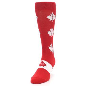 Image of Red Canadian Maple Leaf Men's Dress Socks (side-2-front-06)