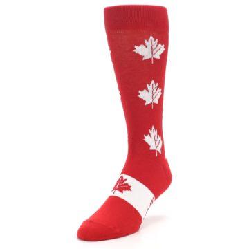 Image of Red Canadian Maple Leaf Men's Dress Socks (side-2-front-07)