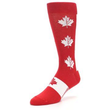 Image of Red Canadian Maple Leaf Men's Dress Socks (side-2-front-08)