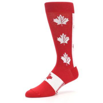 Image of Red Canadian Maple Leaf Men's Dress Socks (side-2-09)