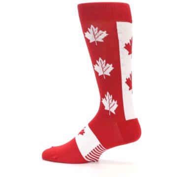 Image of Red Canadian Maple Leaf Men's Dress Socks (side-2-12)