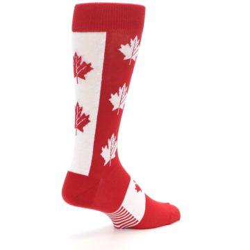 Image of Red Canadian Maple Leaf Men's Dress Socks (side-1-back-22)