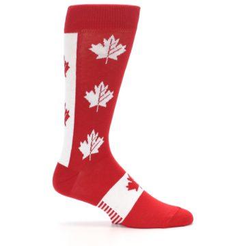 Image of Red Canadian Maple Leaf Men's Dress Socks (side-1-25)