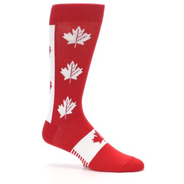Image of Red Canadian Maple Leaf Men's Dress Socks (side-1-26)