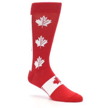 Image of Red Canadian Maple Leaf Men's Dress Socks (side-1-27)
