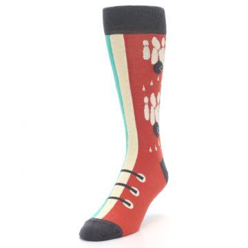 Image of Red Teal Bowling Men's Dress Socks (side-2-front-07)
