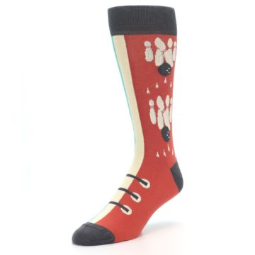 Image of Red Teal Bowling Men's Dress Socks (side-2-front-08)