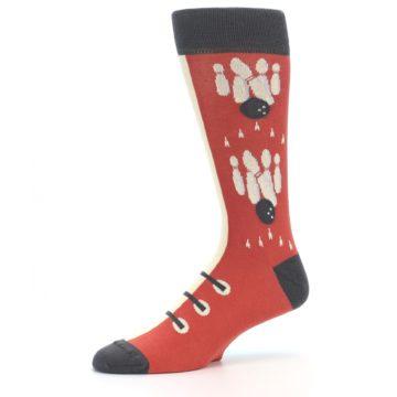 Image of Red Teal Bowling Men's Dress Socks (side-2-10)