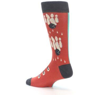 Image of Red Teal Bowling Men's Dress Socks (side-2-back-14)