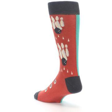 Image of Red Teal Bowling Men's Dress Socks (side-2-back-15)