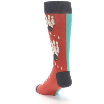 Image of Red Teal Bowling Men's Dress Socks (side-2-back-16)