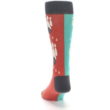 Image of Red Teal Bowling Men's Dress Socks (back-17)