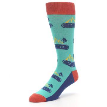 Image of Teal Blue Red Snowboarding Men's Dress Socks (side-2-front-08)