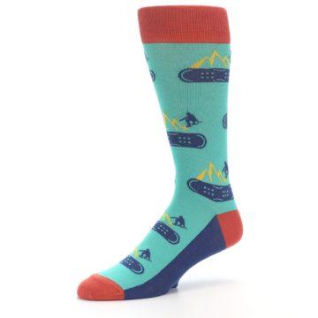 Image of Teal Blue Red Snowboarding Men's Dress Socks (side-2-09)