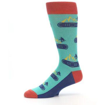 Image of Teal Blue Red Snowboarding Men's Dress Socks (side-2-10)