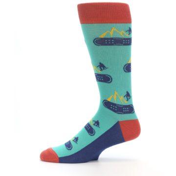 Image of Teal Blue Red Snowboarding Men's Dress Socks (side-2-11)