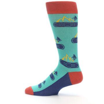 Image of Teal Blue Red Snowboarding Men's Dress Socks (side-2-12)