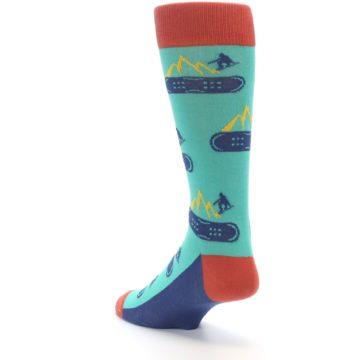 Image of Teal Blue Red Snowboarding Men's Dress Socks (side-2-back-15)