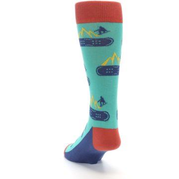 Image of Teal Blue Red Snowboarding Men's Dress Socks (side-2-back-16)