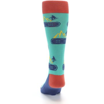 Image of Teal Blue Red Snowboarding Men's Dress Socks (back-17)