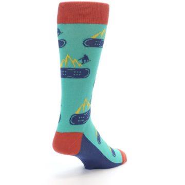 Image of Teal Blue Red Snowboarding Men's Dress Socks (side-1-back-21)