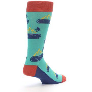 Image of Teal Blue Red Snowboarding Men's Dress Socks (side-1-back-22)