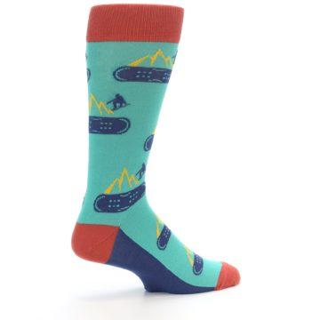 Image of Teal Blue Red Snowboarding Men's Dress Socks (side-1-23)